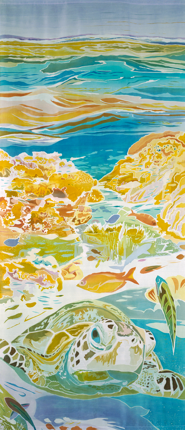 "Great Barrier Reef II, batik on silk by Mary Edna Fraser, 105.5"" x 44.5"""