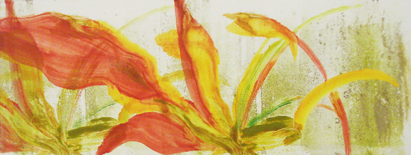 "Tropical, 4"" x 11"" monotype on paper, Mary Edna Fraser, 1997"